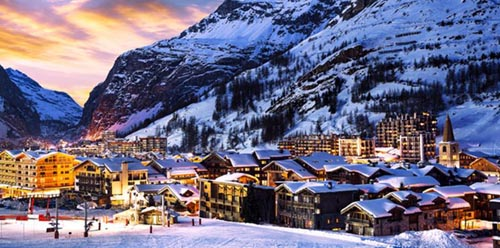 Famous and luxury Val d'Isere at sunset, Tarentaise, Alps, France