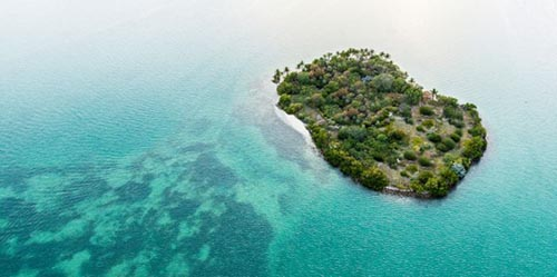 A private island in the ocean