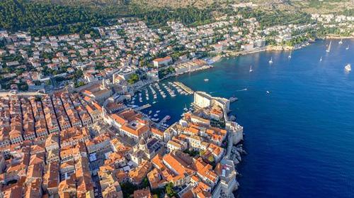 Croatian harbour, aerial shot