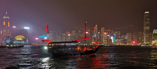 Boat in Hong Kong harbour